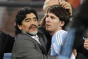 Месси и тренер сборной Аргентины Марадона